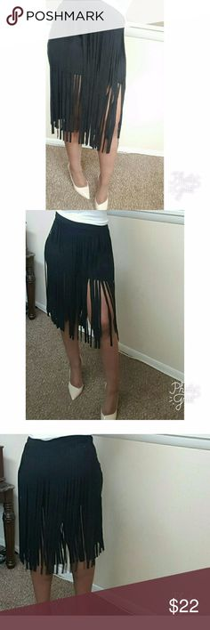 Fringe Suede Skirt 90% polyester 10%spandex  Size M Brand New Skirts