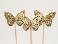 24 Gold Glitter Butterfly Cupcake Toppers/Food Picks/Party Picks/Toothpicks/Weddings/Showers/Party Supplies No. 211