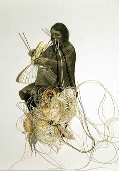 """Louise Richardson """"Find It Bind It""""...mixed media with real butterfly wings"""