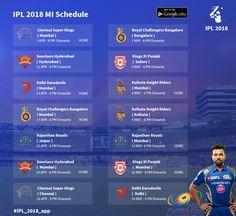 Complete schedule for Mumbai Indians IPL 2018... #IPL11 #VivoIPL  #IPLSchedule