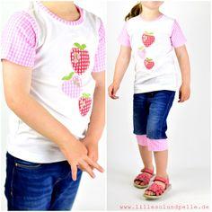 T-Shirt ist nach dem Schnittmuster lillesol basics No.1 Longsleeve als Kurzarm genäht   stickdatei: Carlitos Erdbeeren von Lila-Lotta (über Huups)  Die Jeans ist nach diesem Tutorial recyclet