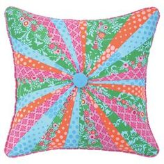 """Feather-down filled cotton applique pillow with a multicolor stripe motif and center button detail.  Product: PillowConstruction Material: Cotton cover and feather-down fillColor: MultiFeatures:  Insert includedCenter button detail Dimensions: 18"""" x 18""""Cleaning and Care: Spot clean"""