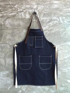 New Denim Apron w/Leather Copper rivets от Underlinebags на Etsy