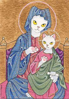 Moussart: New ACEO - Byzantine Madonna kitty