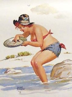 Hilda - panning for gold... finds a penny. (and it makes her happy!_ ) Wearing her blue shorts, red bikini top and a first class hillbilly hat -- adorable!