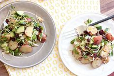 Asian Style Potato Salad // red potatoes, soy ginger dressing, dried cranberries, cucumber, scallions, microgreens, almonds