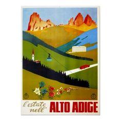 Poster de viagens do vintage, alto Adige, Italia de Zazzle.com.br