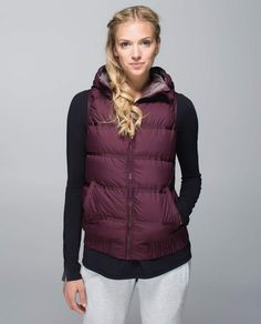 Lululemon Chilly Chill Puffy Vest cept NOT in this color. Ive had my fill of purple! Puffy Vest Outfit, Vest Outfits, Cute Outfits, Lululemon Athletica, Gym Vests, Athletic Outfits, Outerwear Women, Workout Wear, Athletic Wear
