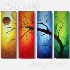 Framed Modern Landscape Canvas Oil Tree Painting