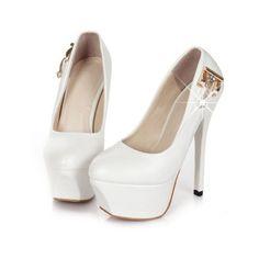 White High Heels Pumps Qu Heel ❤ liked on Polyvore featuring shoes, pumps, white pumps, white court shoes, white high heel pumps, high heel pumps and white high heel shoes