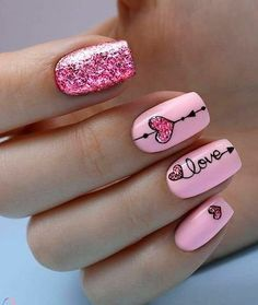 valentin nägel kunst art des ongles de la saint-valentin - Care - Skin care , beauty ideas and skin care tips Cute Acrylic Nails, Cute Nails, Pretty Nails, Heart Nail Art, Heart Nails, Minimalist Nails, Pink Nails, My Nails, Pink Nail Art