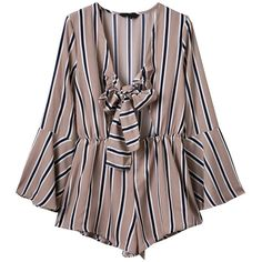 Cheap Bottoms, Buy Quality Jumpsuits and Rompers directly from China Jumpsuits and Rompers Suppliers: Women Sexy Stripe Bowknot Tunic Horn Sleeve V-neck Jumpsuit Long Romper, Playsuit Romper, Long Sleeve Romper, Brown Jumpsuits, Jumpsuits For Women, Long Jumpsuits, Short Jumpsuit, Latest Street Fashion, Cool Outfits
