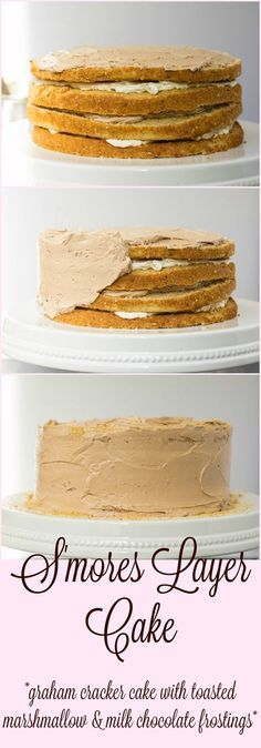 Graham cracker cake layered with toasted marshmallow and milk chocolate buttercreams. This cake embodies the flavors you love in a s'more! Cupcake Recipes, Baking Recipes, Cupcake Cakes, Dessert Recipes, Cupcakes, Baking Tips, Yummy Recipes, Graham Cracker Cake, Graham Cake