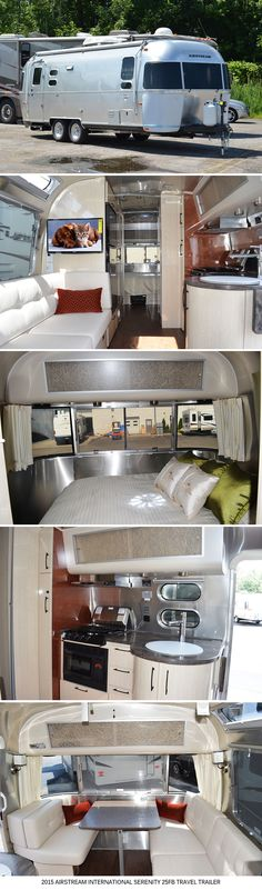 "NEW 2015 Airstream INTERNATIONAL SERENITY 25FB Travel Trailer For the utmost in tranquility, Airstream has created the International Serenity.  Every interior shape, surface and color is designed to envelop the mind and body in a soothing den of luxury and comfort.  The Serenity captures a tasteful ""East meets West"" elegance with Corian countertops, handcrafted curved cabinetry and accents of lemongrass and rice paper that deliver luxury and tranquility in one harmonious design."