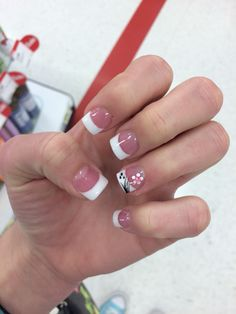 French tip acrylic with flower. Spring nails