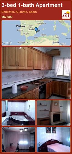Apartment for Sale in Benijofar, Alicante, Spain with 3 bedrooms, 1 bathroom - A Spanish Life Apartments For Sale, Jacuzzi Bath, Large Bathrooms, Spanish House, Bedroom Apartment, Ground Floor, Dining Area, Kitchen Cabinets