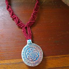 Hemp necklace with glass pendant striped black by jackzenhemp mandala raku necklace mandala jewelry burgundy by jackzenhempworks mozeypictures Images