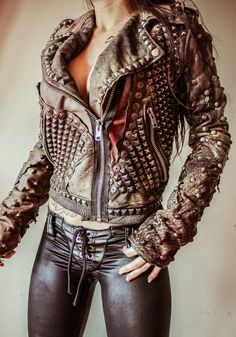 Image of TOXIC VISION Warrior allover stud motorcycle jacket
