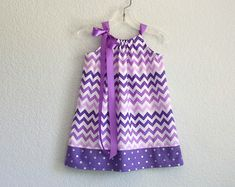 Girls Purple Pillowcase Dress - Purple and White Chevron Stripes - Girls Purple Sun Dress - Size 12m, 18m, 2t, 3t, 4t, 5, 6, 8, or 10