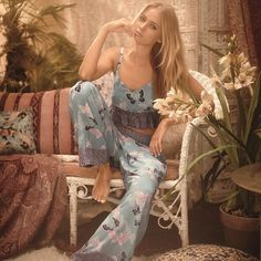 Reminiscent of 70s bohemia, this new trend-driven sleepwear collection is versatile from bedroom to beach! #boho #70s #chic #festival #sleepwear (Top: T375333, Bottoms: T379690)