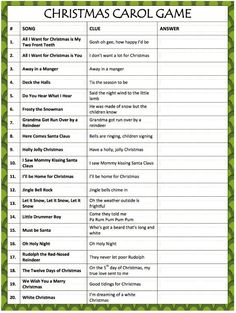 This free printable Christmas Carol Game will test your memory & singing skills! This is a great game to play with family & friends during the holidays.