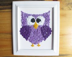 Button Art Animal Owl Purple Canvas Panel 8x10 by HydeParkHome, $25.00