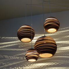 Jupiter galiliean moon set: light shades made from repurposed cardboard boxes.  handmade.  perfect.  http://shop.graypants.com