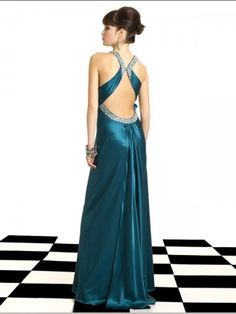 (FITS0258759)2012 Style A-line Straps Rhinestone Sleeveless Floor-length Elastic Woven Satin Prom Dresses / Evening Dresses