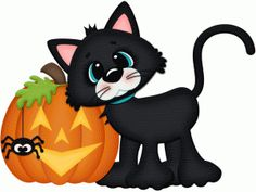 Silhouette Design Store - View Design #66207: halloween cat w jackolantern pnc
