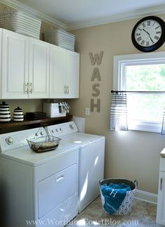Remodeled laundry room with farmhouse and rustic touches