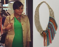 Mindy Kaling wears this knot detail necklace with rainbow swarovski crystal fringe detail, Instagram, October 26th /// Dannijo Galapagos Necklac...