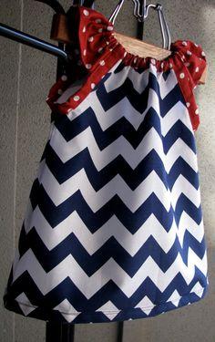 Dress  chevron zigzag navy red white blue girl baby by redpajamas, $38.00