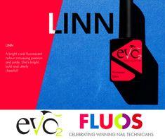 Linn één van de nieuwe kleuren van Evo by Bio Sculpture. De naam is gegeven door collega Linn uit Scandinavië  Linn: een heldere koraal fluoriserende kleur, welke passie en trots overbrengt. Ze is blinkend, een beetje brutaal en lekker vrolijk. Evo, Bio Sculpture, Nail Technician, Logos, Celebrities, Celebs, Logo, A Logo, Famous People