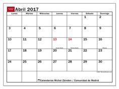 Gratis! Calendarios para abril 2017 para imprimir - España