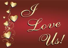 I Love Us!  Gold hearts with rainbow trim visit - www.LoudandProudGreetingCards.Com