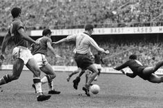 Action from the World Cup Final 1958, final score Brazil 5 Sweden 2