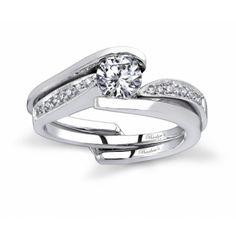 7327SW - Engagement Set  White gold diamond engagement ring set  Diamond Weight: 0.08 dtw