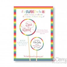 Sweet 16 Colourful Candy Lollies Themed Single Sided Personalised Birthday Invitations - From as little as per card - Including free envelopes and delivery on all orders! Candy Theme, Adult Birthday Party, Colorful Candy, Personalized Invitations, Birthday Party Invitations, Sweet 16, Rsvp, Envelopes, Cards