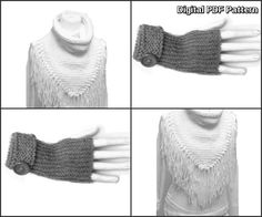 Fringed Triangle Scarf With Collar And by ToppyToppyKnits on Etsy