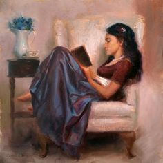 Girl Reading A Book Painting - Jaidyn Reading A Book 2 - Portrait Of Woman by Karen Whitworth