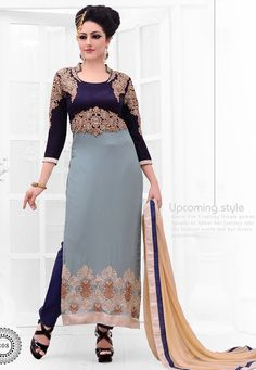 Gray Georgette Suit With Bottom And Dupatta At Aimdeals.com