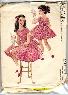 50s Little Girls Party Dress with Pleated Sash