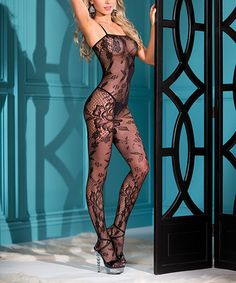 Love this Black Floral Lace Sheer Body Stocking - Women & Plus on #zulily! #zulilyfinds