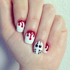 Halloween nail art #halloween #jason #blood