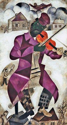 Reproduction de Chagall, Le Violoniste Vert. Tableau peint à la main dans nos ateliers. Peinture à l'huile sur toile.