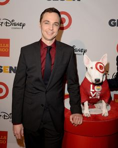 Jim Parsons with Bullseye the Target dog arrives at the 9th Annual GLSEN Respect Awards at Beverly Hills Hotel on October 18, 2013 in Beverly Hills, California