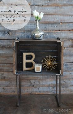 Create this DIY Crate & Pipe Industrial Table using a plain wooden crate and some plumping pipe from your local home improvement store! Rustic Industrial Decor, Industrial House, Rustic Decor, Industrial Pipe, Industrial Bedroom, Industrial Design, Industrial Farmhouse, Industrial Night Stand, Modern Farmhouse