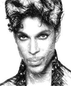 Prince - Tribute Sketch In Black And White Digital Art by Rafael Salazar