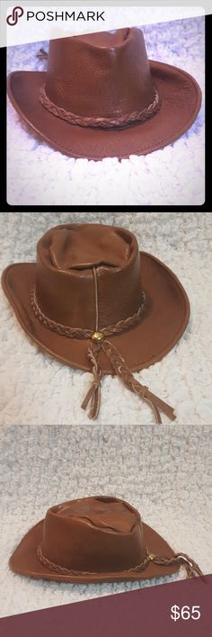 🤠VINTAGE LEATHER HAT🤠 60's/ 70's VINTAGE LEATHER HAT EXCELLENT VINTAGE CONDITION  NO PEELING, NO SCUFFS, NO SCRATCHES  Smoke Free Home Length 9 inches Width 7 inches Accessories Hats