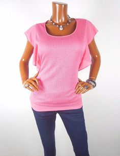 NY COLLECTION Womens Top M Metallic Knit Blouse Casual Shirt Pink Coral Chiffon #NYCollection #Blouse #Casual